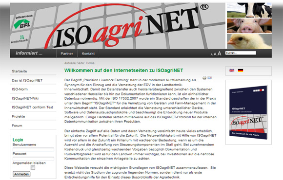 Screenshot der Webseite ISOagriNET.org